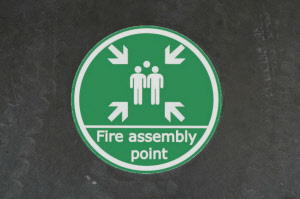 fire assembly point floor sticker
