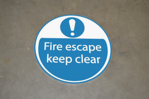 fire-escape-keep-clear-indoor floor stickers